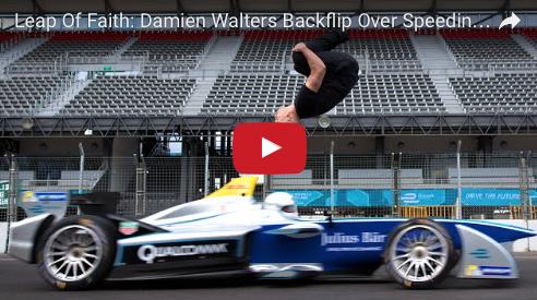 Damien Walters Backflips Over Formula E Racer