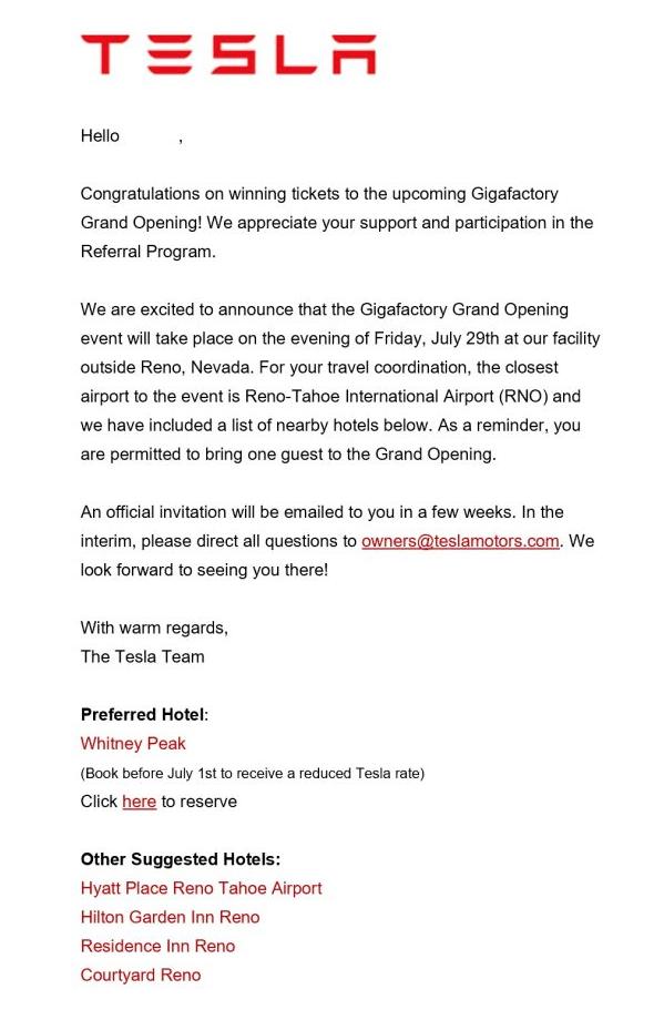 Tesla Gigafactory Grand Opening Invite