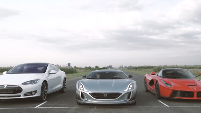 Concept One vs LaFerrari & Tesla P90D Video